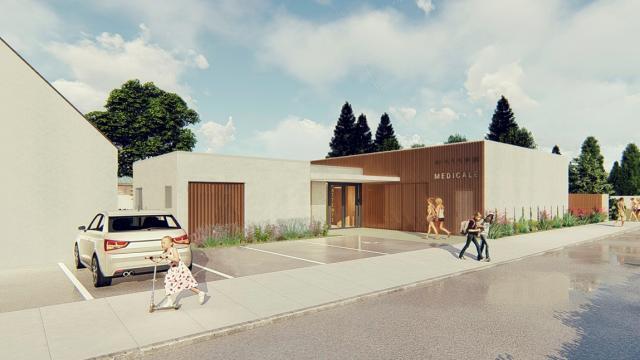 La future maison médicale sera en béton, bois et résille de métal.